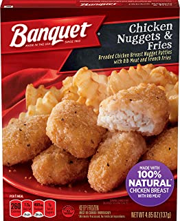 Banquet Basic Chicken Nuggets and Fries Frozen Single Serve Meal, 4.85 Ounce