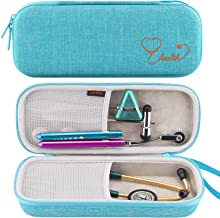 Canboc Stethoscope Carrying Case for 3M Littmann Classic III/Cardiology IV Stethoscope - Extra Storage Taylor Percussion Reflex Hammer, Reusable Medical LED Penlight, Turquoise
