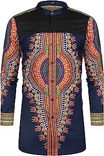 تي شيرت رجالي من COOFANDY مطبوع عليه صورة داشيكا أفريكان كم طويل زر أسفل قميص قبلي بألوان زاهية