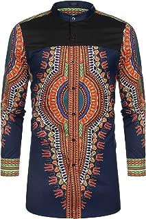 Men's African Dashiki Print Shirt Long Sleeve Button Down Shirt Bright Color Tribal Top Shirt