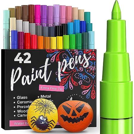 Artistro marqueur Acrylique stylos acryliques - 42 Couleurs - Marqueurs Peinture Acrylique - Feutre Acrylique Pointe Fine 0.7mm - Stylos de Peinture pour Roche, Bois, métal, Plastique, Verre, Toile.