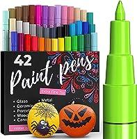 ARTISTRO Set van 42 gekleurde acrylstiften voor het beschilderen van stenen, acrylverf, viltstiften 0,7 mm, extra fijne...