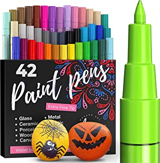 Acrylic Paint Pens - 42 Acrylic Paint Markers - Extra Fine Tip Paint Pens (0.7mm) - Great for Rock Painting, Wood, Canvas,...