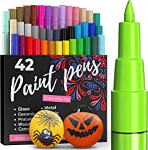 ARTISTRO 42 kolorowe pisaki akrylowe do malowania kamieni, farba akrylowa, flamastry filcowe 0,7 mm, bardzo cienka końcówk...