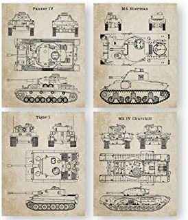 "World War 2 Tank Patent Prints Wall Art - Set of 4 (8""x10"") UNFRAMED Blueprints. Great Gift for Men. Gifts Under $20 for M..."