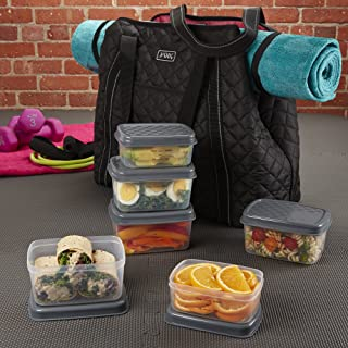 Fit & Fresh JAXX Black Quilted YOGA BAG,  Stylish Fitpak Meal Prep Set with Portion Control Containers, Ice Pack and Vitamin Case, Black