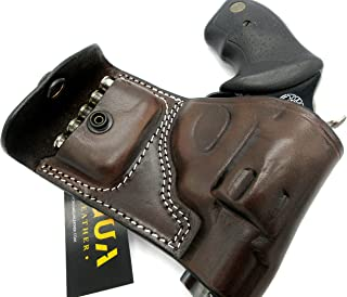 TAGUA Premium Right Hand Belt Slide Holster with Ammo Pouch in Dark Brown Leather for CHARTER ARMS 2
