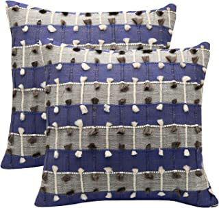 YugTex Pillowcase Set of 2(Blue) Cotton Jacquard pillow cover, Boho pillow,Turkish pillow, Kilim cushion (Multi Color(Blue), 18