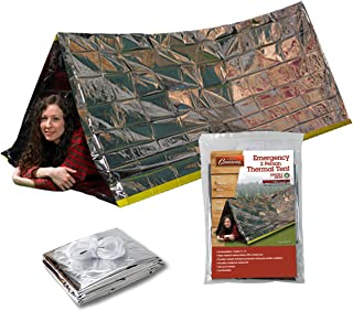 Grizzly Gear Emergency Thermal Tent   Weatherproof Mylar Disaster Survival 2-Person Bivouac   8 ft x 3 ft   Compact Lightweight Hiking/Camping/Backpacking Shelter   Premium Prepper