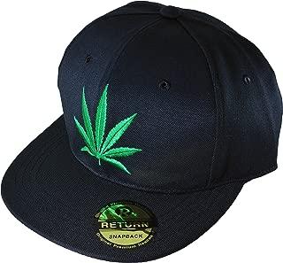 Marijuana Weed Leaf Hip Hop Hat Flex Fit Flat Bill Snapback Black Cap (Marijuana-Cap)