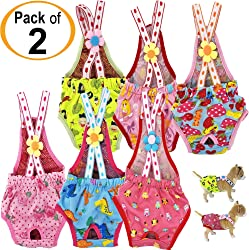FunnyDogClothes Dog Diapers Sanitary Pants Washable Reusable with Suspenders Stay On Female for Small Pet
