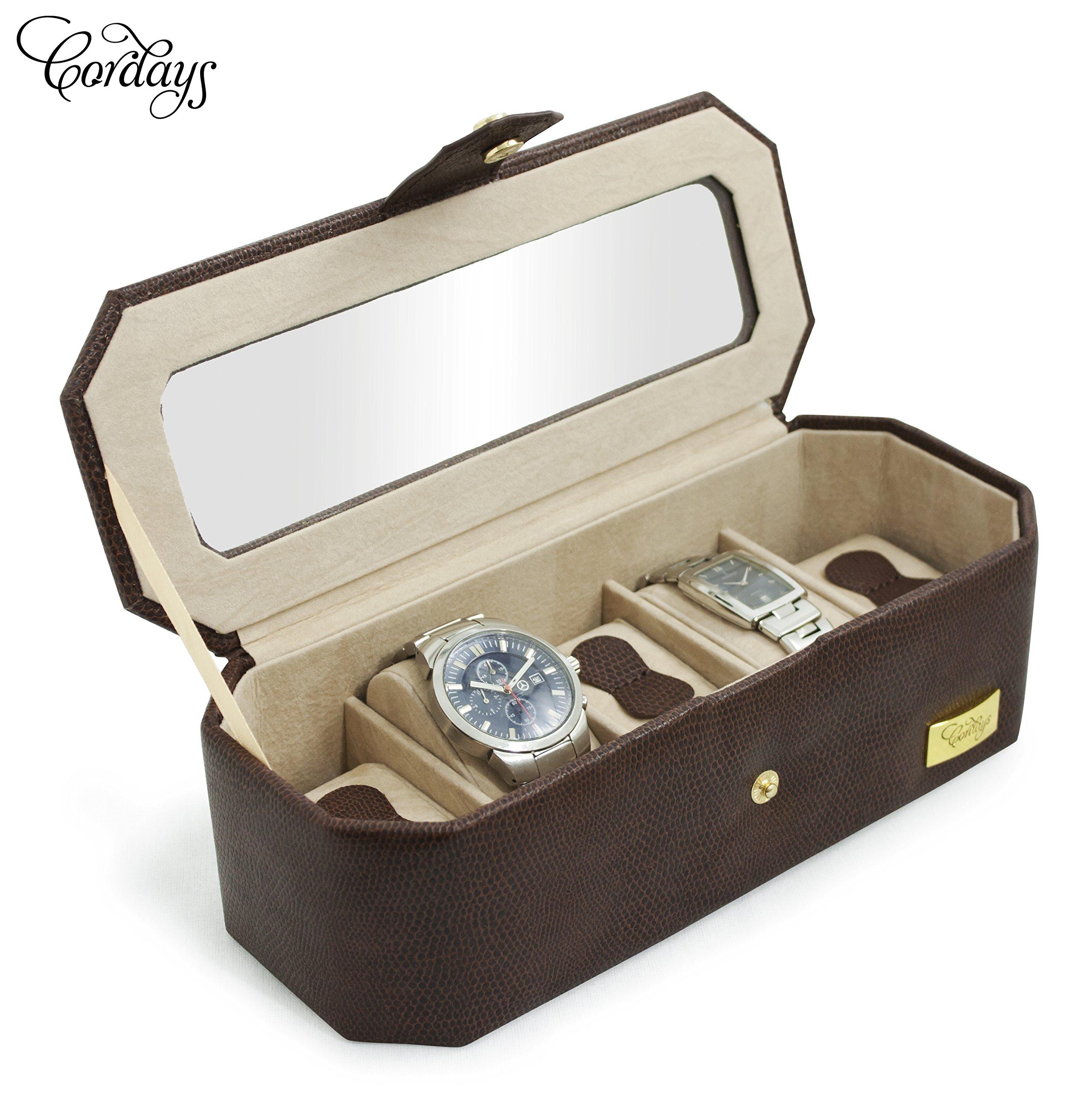CORDAYS - Estuche Relojero para 5 Relojes con Vitrina de Cristal Joyero Relojero para Accesorios y Joyas -Hecho a Mano- Color Marrón CDM-00034: Cordays: Amazon.es: Joyería
