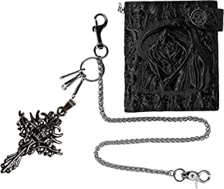 ABC STORY Unisex Gothic Skull Biker Wallet w/Chain Necklace Genuine Leather