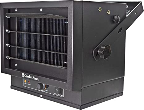 Comfort Zone CZ220 5,000 Watt, Fan-Forced Ceiling Mount Heater with Dual Knob Controls, Black, Space Saving Design, Variable Mounting Angle to Direct Airflow: image