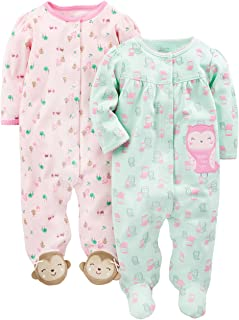 """Simple Joys by Carter""""s Baby-Mädchen 2-Pack Cotton Footed Sleep and Play, 2er-Pack"""