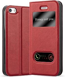 Cadorabo Funda Libro para Apple iPhone 5 / iPhone 5S / iPhone SE en Rojo AZRAFÁN - Cubierta Proteccíon con Cierre Magnético, Función de Suporte y 2 Ventanas- View Case Cover Carcasa