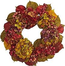 """Nearly Natural 24"""" Fall Hydrangea Wreath, Multi/Color"""