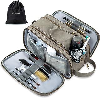 Elviros Toiletry Bag for Men, Large Travel Shaving Dopp Kit Water-resistant Bathroom Toiletries Organizer PU Leather Cosmetic Bags (Gray)