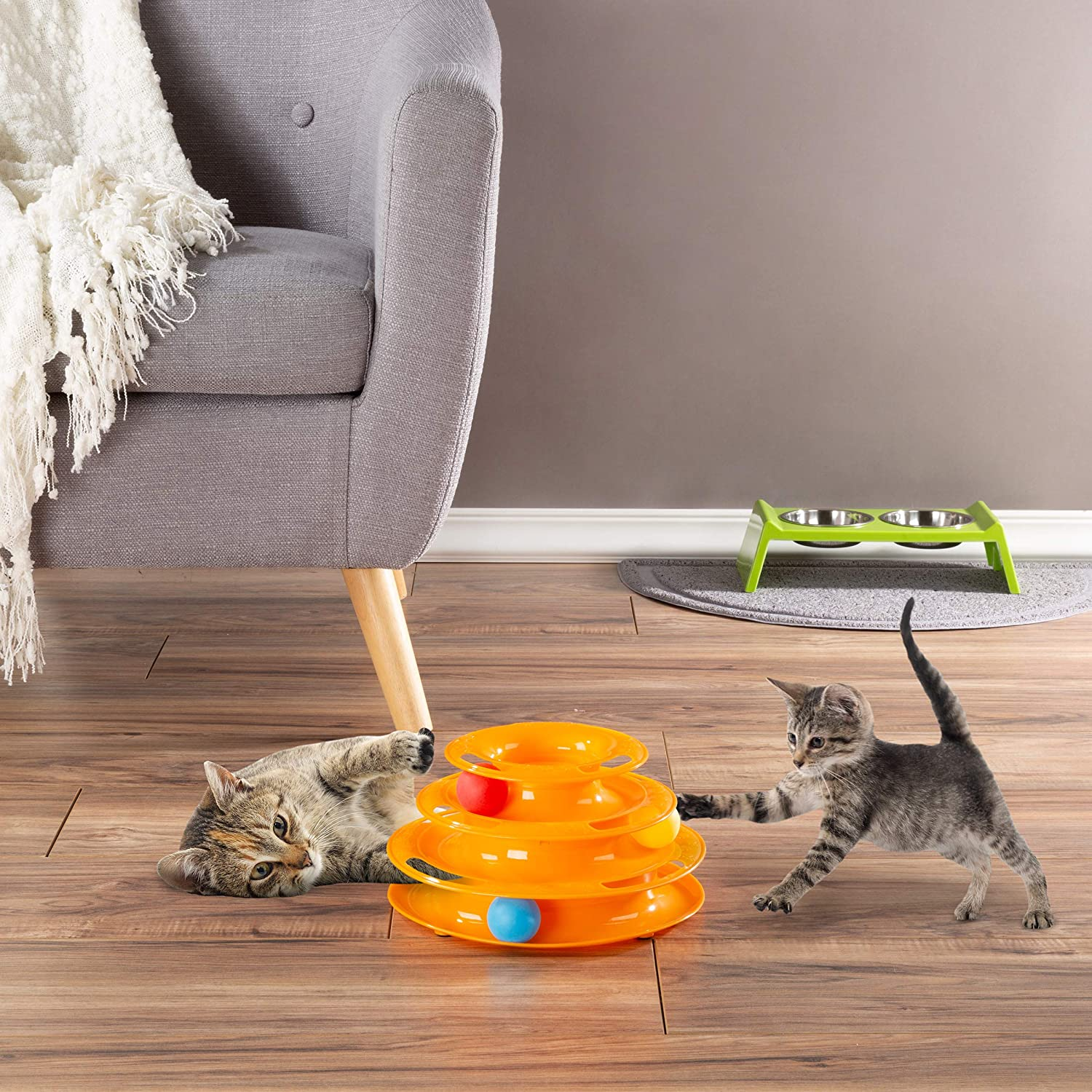 PETMAKER Interactive 4 years warranty Cat Toy Ball Directly managed store Roller Level 3 R Tiered Tower-