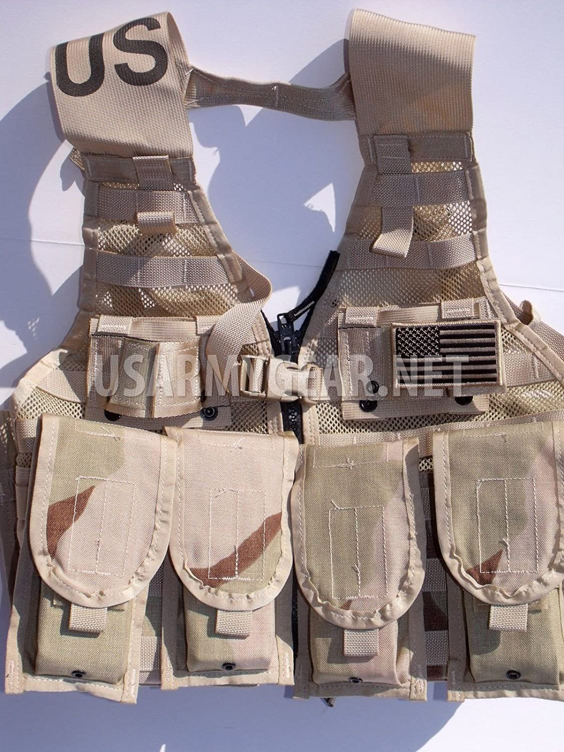 New Made in USA Army Military MOLLE II Camouflage Desert Tan Airsoft MOLLE II Fighting Loaded Carrier Vest FLC LBV with 4 Double Pouch and 2 KBar Adapter Issued by the U.S. Government GI