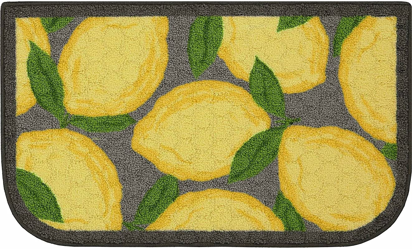Lemon Kitchen Rug With Latex Backing 1 8 X2 10