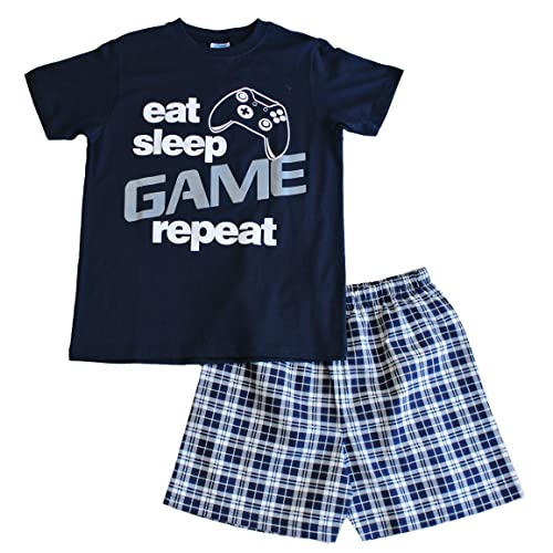 Boys Eat Sleep Game Short Pyjamas 9 to 13 Years Gamer PJs Blue a906df5d5