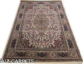 Faiz Carpets Kashmiri Design Royal Look Persian Carpet for Your Hall & Living Room with 1 inch Thickness 9 X 12 Feet Gold Multi