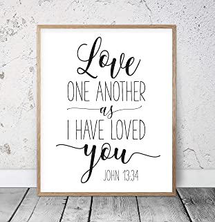456Yedda Love One Another As I Have Loved You Printable Scripture Wall Art Bible Verse Prints Christian Wedding Bible Verse Printable Wood Pallet Design Plaque with Frame Wooden Sign (2029cm)