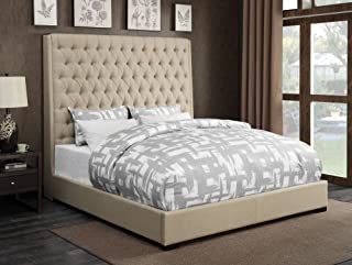 Coaster Home Furnishings 300722Q Upholstered Bed, Queen, Cream