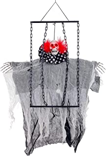 Halloween Haunters 3 Foot Animated Hanging Skeleton Clown Ghost Reaper in Prison Chains with Moving Arms Prop Decoration - Evil Red LED Eyes, Plays Spooky Circus Music - Haunted House Entryway Display