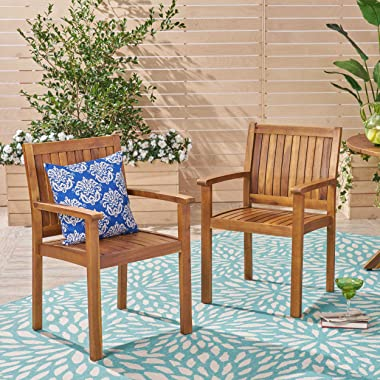 Christopher Knight Home 305350 Teague Outdoor Acacia Wood Dining Chairs (Set of 2), Teak Finish