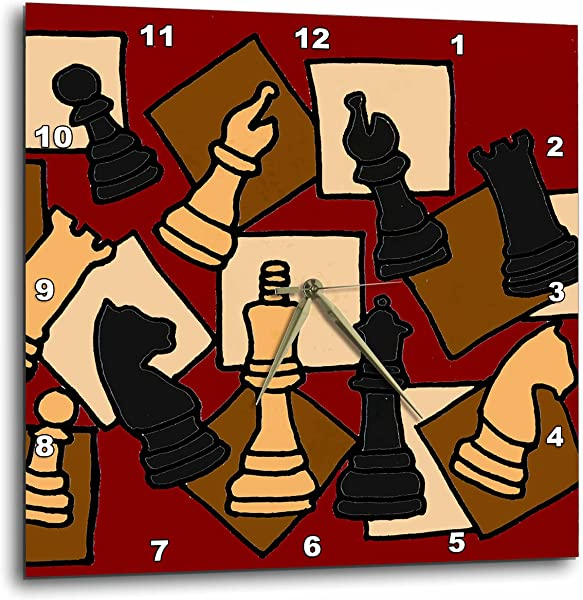 3dRose Fun Chess Game Pieces Art Abstract Wall Clock 15 By 15 Inch DPP 200129 3