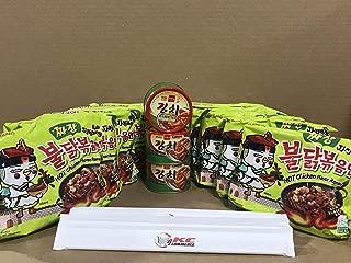 KC Commerce Samyang Hot Chicken Ramen Noodle 140g 10 Packs Combo Set With FREE Korean Kimchi & Chopstick (JJAJANG)