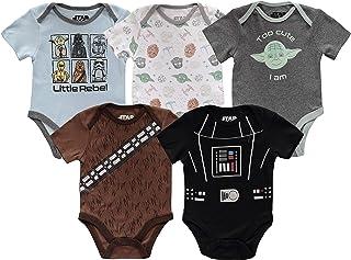Disney Boys` Star Wars Infant Short Sleeve Onesie Bodysuits Baby Costumes Multi Pack