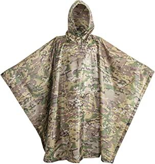 USGI Industries Military Poncho Emergency Tent Shelter Multi Use Rip Stop Camo Survival Rain Poncho