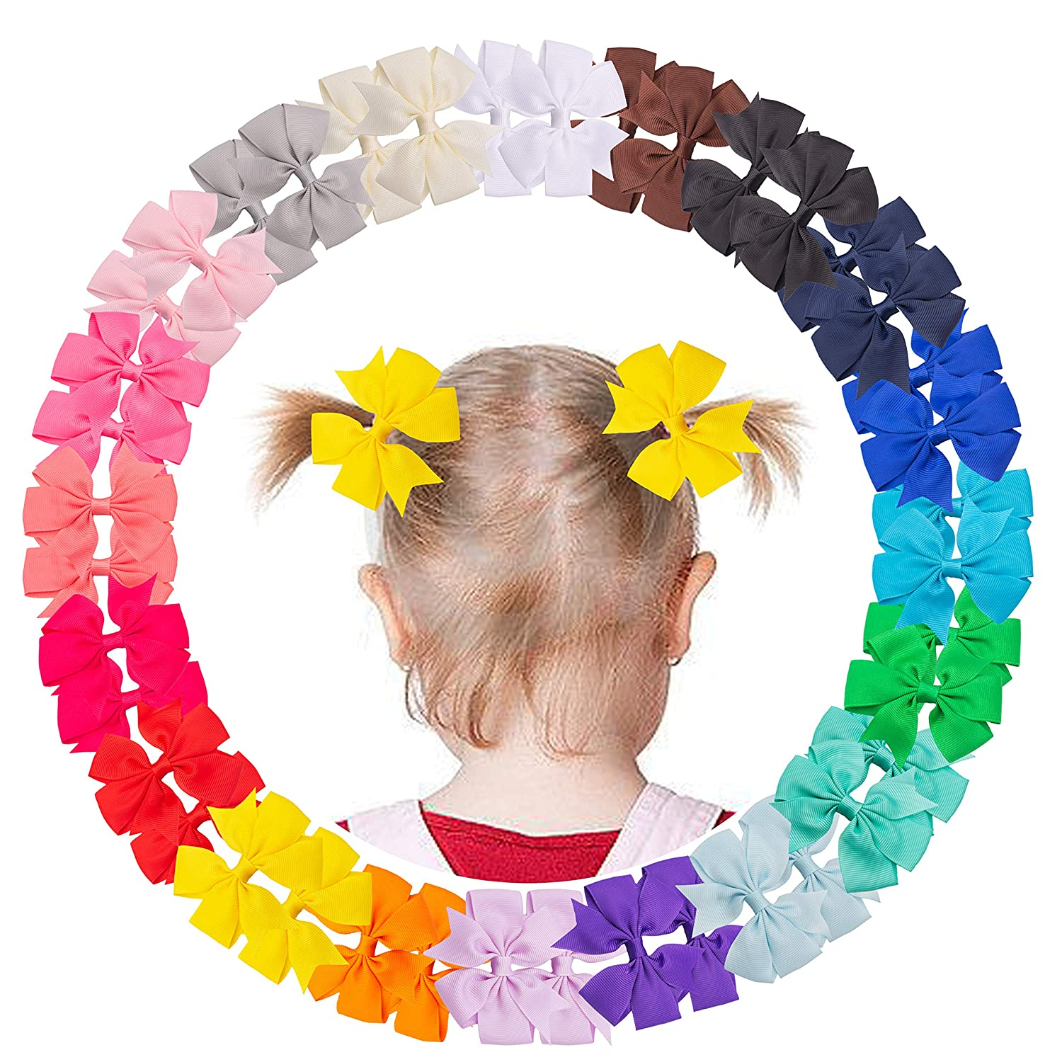 VINOBOW 40Piece Hair Bows with Alligator Clips Baby Hair Clips For Toddlers Girls Baby Hair Accessories 3Inch