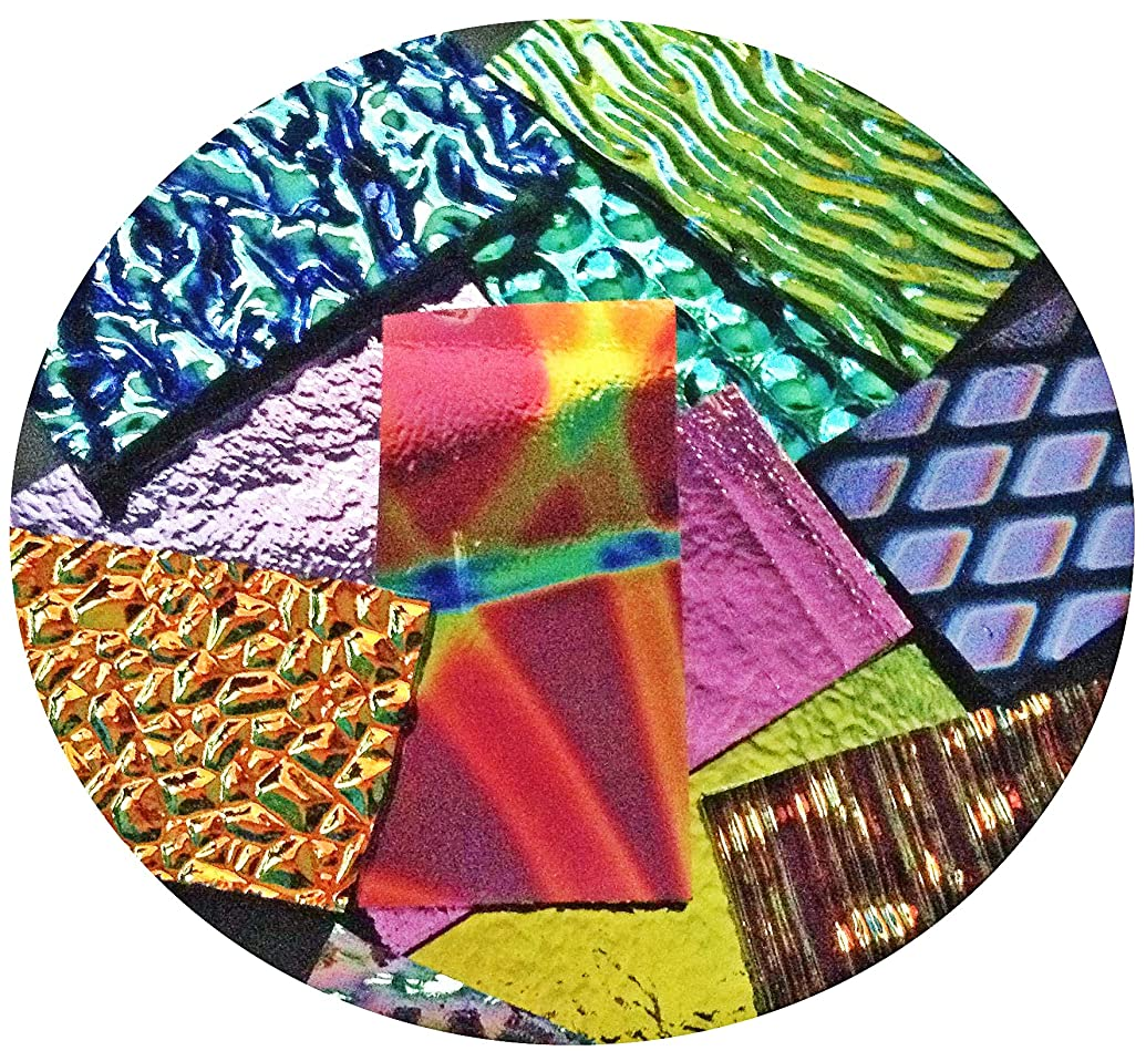 Assorted Dichroic on Black Glass Pieces - 90 COE, Made in America, 2 OZ.