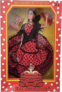 La Señorita Spanischer Puppe rot mit schwarzen Punkten Flamenco Kleid und Zubehör