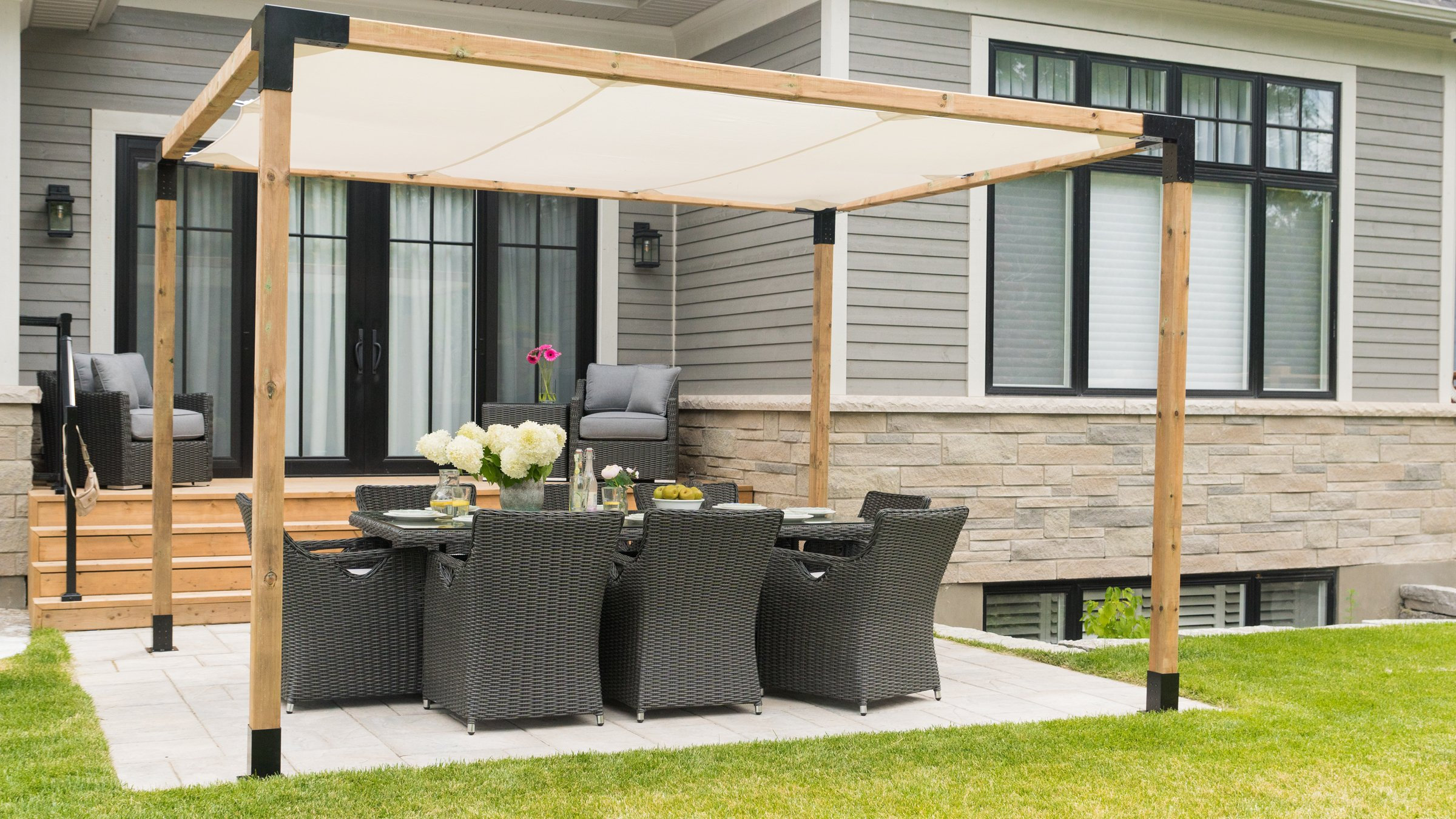 Toja Grid Pergola 12 x 12 Kit – pantalla en color blanco: Amazon ...
