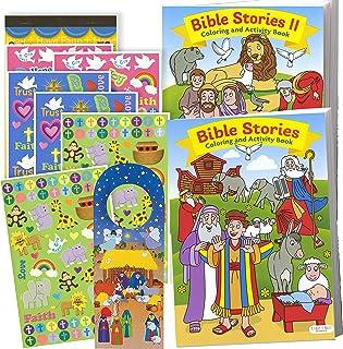 Bible Stories Coloring Book Set (2 Books ~ 96 Pages) Jesus, Noah, Daniel With Noah's Ark Stickers