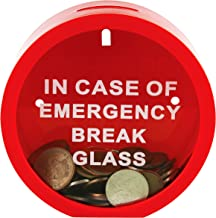 Fairly Odd Novelties Savings Bank Funny Replica Cash Container Money Box-in Case of Emergency Break Glass, red