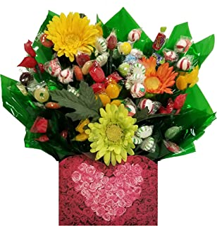 Rose Heart Gift Box with Hard Candy Bouquet - Great as a Birthday, Thank You, Get Well Soon, New Baby, New Home, Congratulations gift or for any occasion (Many OPTIONS available)
