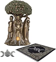 Sarimoire Altar Tarot Cloth Goddess Statue Tree of Life 5.5 in Cold Cast Bronze Statue Wicca Supplies Triple Moon Pentagra...