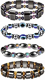Thunaraz 4Pcs Hematite Bracelet for Men Women Reiki Healing Bangle Bracelet Energy Magnetic Tiger Eye Therapy Bracelets