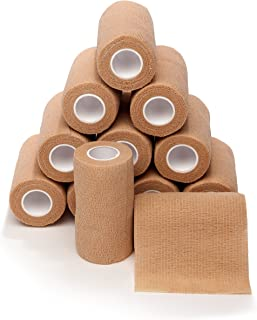 12-Pack,  4 Wide x 5 Yards,  Self-Adherent Cohesive Tape,  Strong Sports Tape for Wrist,  Ankle Sprains & Swelling,  Self-Adhesive Bandage Rolls,  Vet Tape Wrap,  Brown Color,  by California Basics