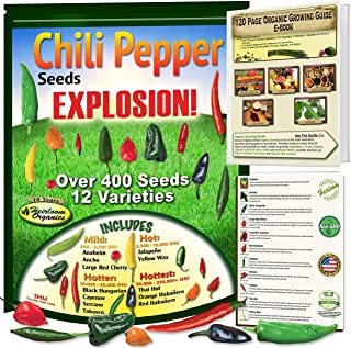 Chili Pepper Seeds EXPLOSION! 12 Heirloom, NON-GMO Hot Chilli Seed Collection Kit. Complete Organic Growing Guide Included. Jalapeno, Anaheim, Habanero or Scotch Bonnet, Ancho, Tabasco, Thai, Cayenne.