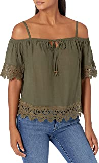 A. Byer womens Off The Shoulder Top with Crochet Trim Blouse