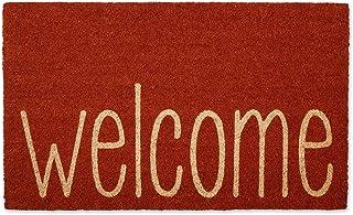 """DII Welcome Home Natural Coir Doormat, Indoor/Outdoor, 18x30"""", Rusty Orange"""