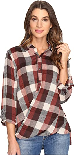 Multi Plaid Drape Front Shirt in Whiskey Brown