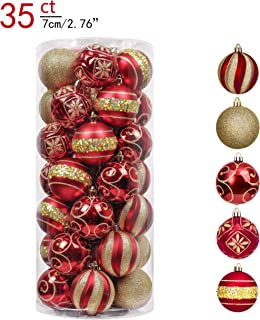 Valery Madelyn 35ct 70mm Luxury Red and Gold Shatterproof Christmas Ball Ornaments Decoration,Themed with Tree Skirt(Not Included)